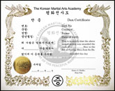 Chinese Martial Arts Certificate