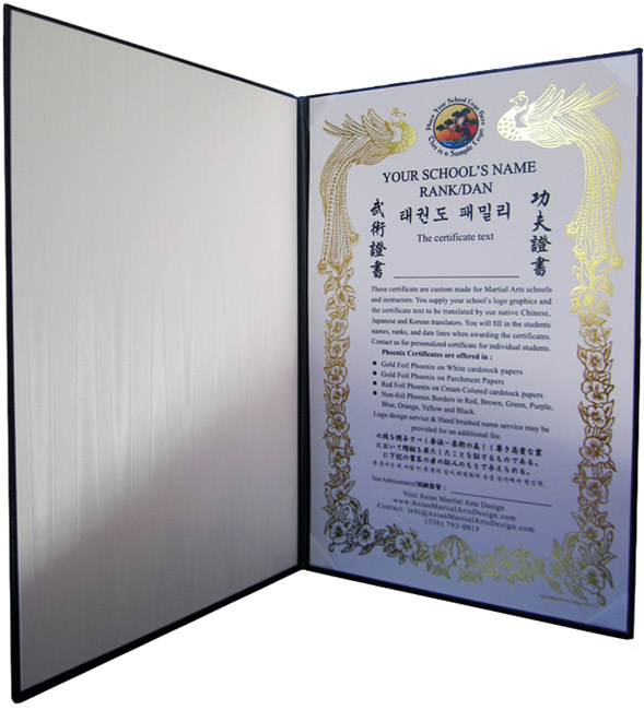 Custom goldred phoenix certificates martial arts certificates in martial arts certificate folder yadclub Gallery