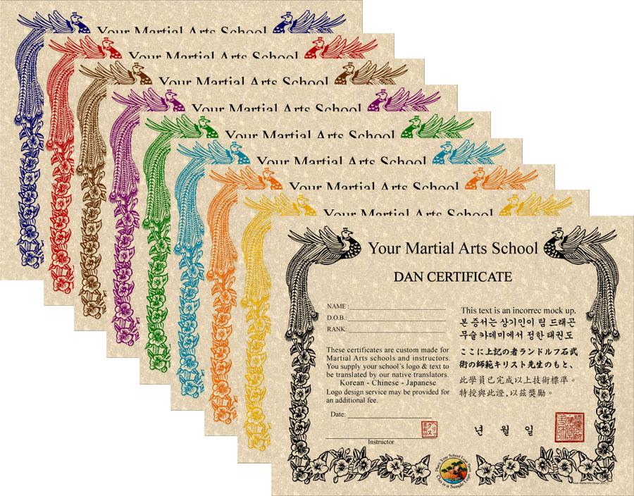Custom Ink Colored Phoenix Certificates Martial Arts Certificates In